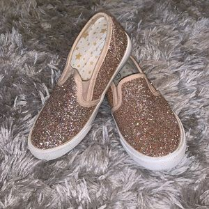 Girls gold sparkly casual Loafers size 11